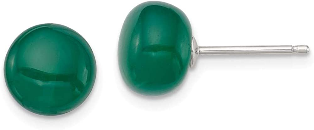 Saris and Things 925 8-8.5mm botón Esmeralda Pendientes de ágata Verde del Anuncio