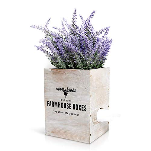 Countree Farmhouse Square Tissue Box Cover/ Holder, The Ultimate Rustic Home Decor To Instantly Transform Your Bathroom and Bedroom, Concealed as an Artificial Flower Potted Lavender Faux Plant