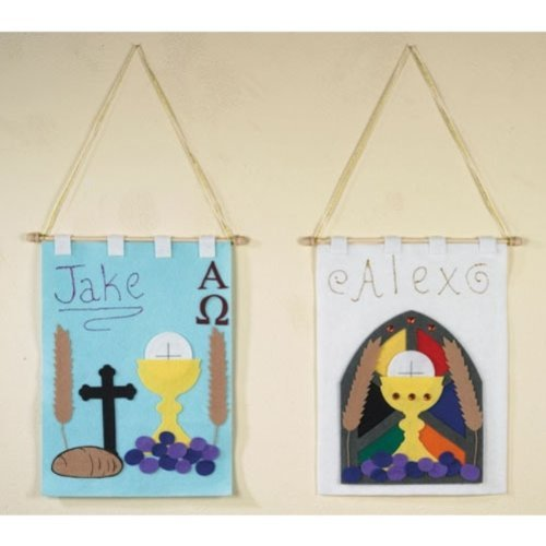 (First Communion Banner Arts and Craft Kit for Catholic Children, 16 Inch)