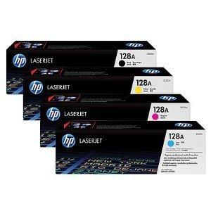 HP 128A Original LaserJet Toner Cartridges Full Set C,Y,M,K (CE320A, CE321A, CE322A, CE323A) (Hp Print Cartridge Ce320a)