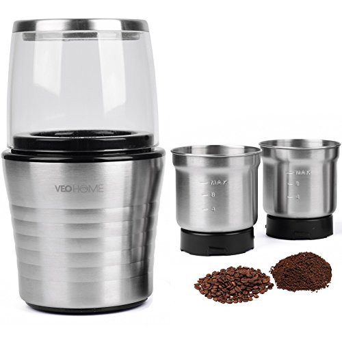 (Multipurpose Electric Coffee Bean Grinder with 2 Removable Cups - Premium Stainless Steel Mill Grinding Tool for Seeds, Spice, Herbs, Nuts & Other Dry and Wet Ingredients | 200W Fast Grind in Seconds)