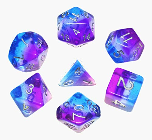 DND Dice Set,Aurora Dice RPG Polyhedral Dice Fit Dungeons and Dragons(D&D) Pathfinder MTG Tabletop Role Playing Dice with Silver Glitter (Purple-Blue Aurora) ()
