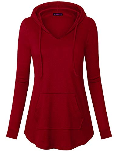 (Anmery Lightweight Hoodies for Women Plus Size Womens Pullover Sweatshirt Loose Fit Drawstring Women's Hoodie Sweatshirts Notch Split Neck Tunic Hoody Shirts Tops Ladies Juniors Red Medium )