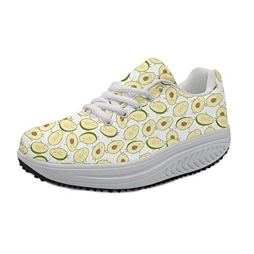 Women Bigcardesigns Shoes 1 Wedge Walking Casual Fitness Platform Fashion Sneaker Avocado wqPrXZq