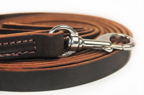 Dean and Tyler Stitched Track Dog Leash, Brown 13-1/2-Feet by 1/2-Inch Width With Stainless Steel Hardware. by Dean & Tyler (Image #1)