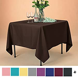 Remedios Tablecloth 70-inch Square Polyester Table Cover - Wedding Restaurant Party Banquet Decoration, Chocolate