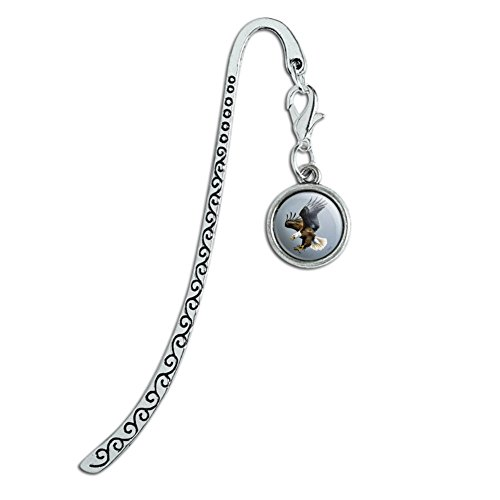 Screaming Bald Eagle Diving Catching Prey Metal Bookmark Page Marker with Charm