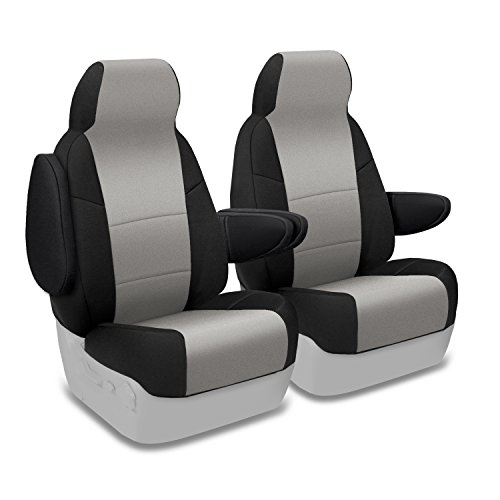 Coverking Custom Fit Front 50/50 Bucket Seat Cover for Select Toyota Sienna Models - Neosupreme (Gray with Black Sides)