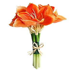 Jasming Real Touch Artificial Amaryllis Bush Bridal Bouquets Wedding Centerpieces Home Decor Boutonnieres Corsage Real Touch Flowers Faux Lily 55