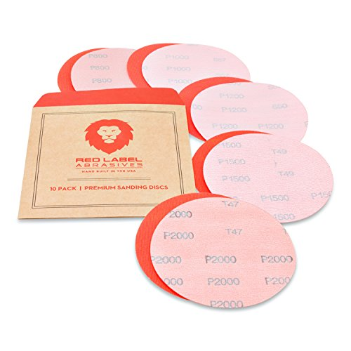 (5 Inch High Performance Hook and Loop Wet/Dry Auto Body Film Sanding Discs, 10 Pack, Assorted Extra Fine Grits)