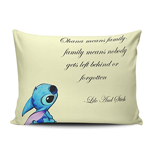 ZeDae Pillowcase Personalized Lilo and Stitch Ohana Cushion Pillowcases Unique Home Decorative Throw Pillow Covers Cases Boudoir 12x16 Inches One Sided