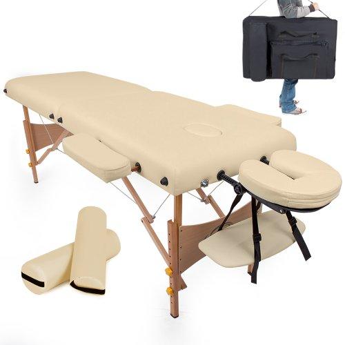 TecTake® Massageliege 7,5cm reine Polsterung + 2 Lagerrungsrollen + Tasche beige