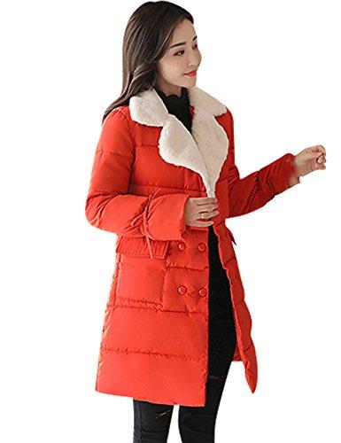 Largo con Cuello Mujer para Pelo Ac4470 Inflado Menschwear Sintético Naranja Abrigo de HXtYUq
