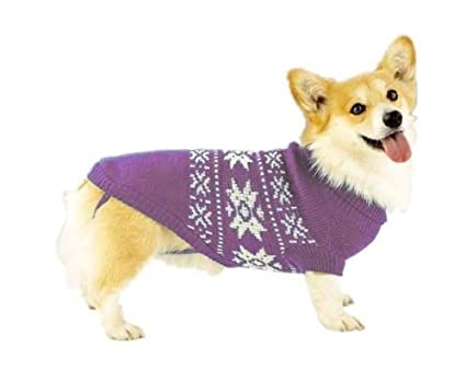e290ad2d7293 Amazon.com   Dog Sweater - Purple Snowflake Dog Sweater - X-Small ...
