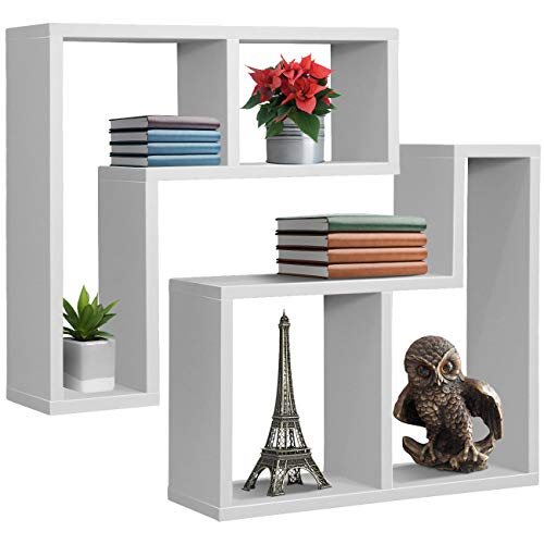 Sorbus Floating Shelf L-Shaped Set - L-Ledge Wall Shelves with 2 Openings, Decorative Hanging Display for Photo Frames, Collectibles, and Home Décor (Geometric L-Shape (Set of 2) - White)