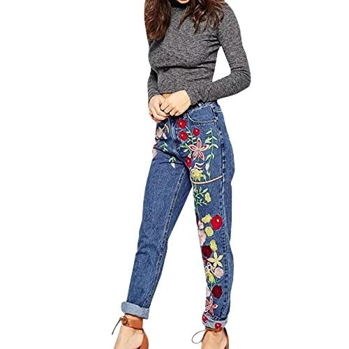 Hot Ermonn Womens Rose 3D Flower Embroidery High Rise Straight Leg Jeans Denim Pants free shipping