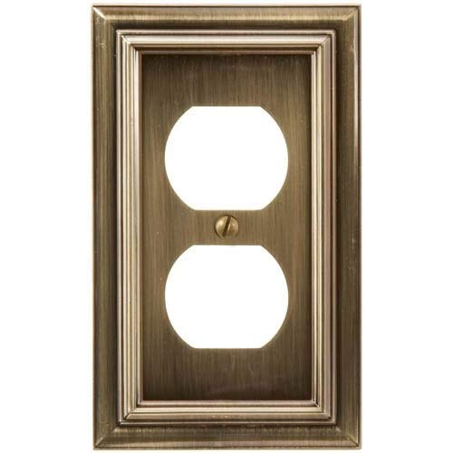 (Amerelle 94DBB Continental Cast Metal Wall plate with 1 Duplex Outlet, Brushed Brass)