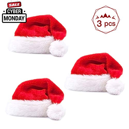 Christmas Santa Hat for Adults Plush Red Velvet Mrs Santa Hat Costumes Party Hat