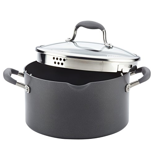 Anolon Advanced Hard-Anodized Nonstick Covered Stockpot with Locking Straining Lid, 6-Quart, -