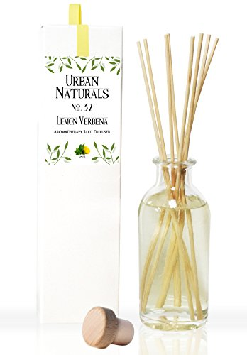 Urban Natural - Lemon Verbena Reed Diffuser Oil Set by Urban Naturals with sticks | Tart, Citrus with fruity notes of Bergamot & Green Woody Notes of Cedarwood & Vetiver | Makes a Cheerful Gift Idea