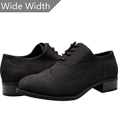 Aukusor Women's Wide Width Flat Oxfords - Classic lace up Low Heel Platform Dress Shoes.(180514 Black ()