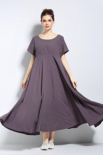 Anysize Doux Coton Lin Robe Printemps Été Vêtements De Taille Maxi Gris Y6