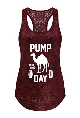 Tough Cookie's Women's Pump Day Gym Workout Burnout Tank Top (Medium - LF, Maroon)