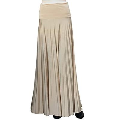 Hayaa Clothing Pearly Sheen Pleated Floor Length Maxi Skirts Foldable High WaistBand