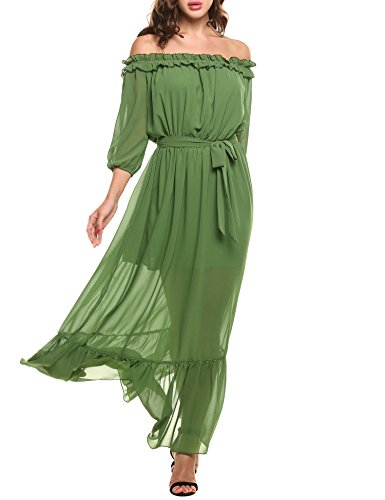 Zeagoo Women's Ruffles Off Shoulder 3/4 Sleeve Chiffon Split Beach Maxi Dress