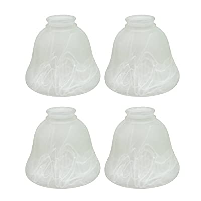 """Aspen Creative 23018-4 Transitional Style Replacement Bell Shaped Frosted Alabaster Glass Shade, 2 1/8"""" Fitter Size, 4 3/4"""" High x 6"""" Diameter (4 Pack)"""
