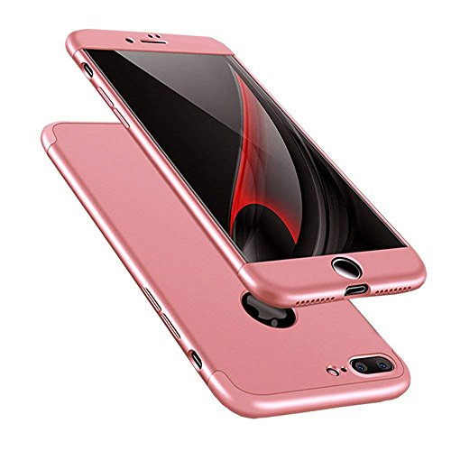 Samhe for iPhone 8 Plus Case 3 in 1 Shockproof 360 Protection Ultra Thin Hard Cover Case for iPhone 8 Plus (Rose Gold)