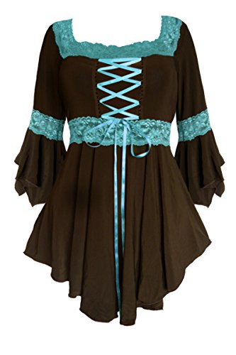 Goth Tie - Dare to Wear Victorian Gothic Peasant Women's Plus Size Renaissance Corset Top, Brown/Turquoise S