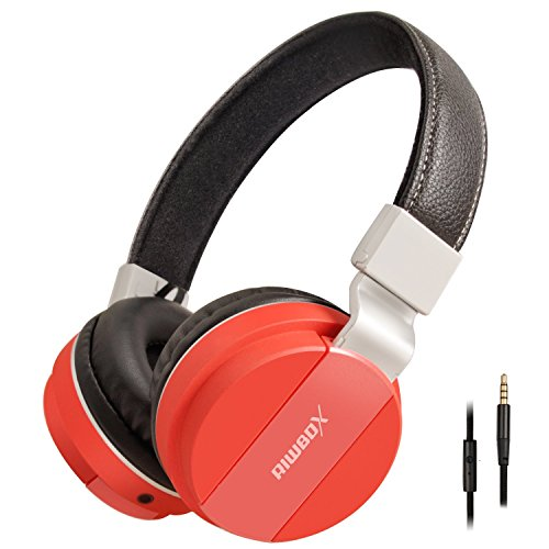 Riwbox K6 Stereo Lightweight Foldable Headphones Adjustable Headband Headsets with Microphone 3.5mm for Cellphones Smartphones Iphone Laptop Computer Mp3/4 Earphones(red)