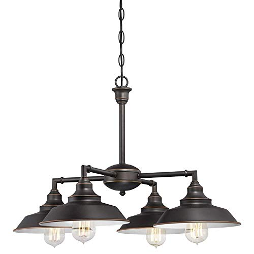 Iron Hill Four-Light Indoor Chandelier Semi-Flush Ceiling Fixture, Oil Rubbed Bronze Finish with Highlights Four-Light – White Finish