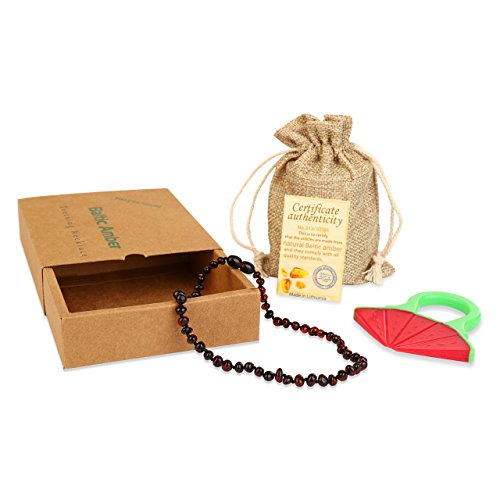 Baby Baltic Amber Teething Necklace Jewelry - (Cherry) Anti-Flammatory, Drooling & Free Teething Toy Pain Reduce - Reduces Tension and Fear, Teething Necklace For 3 to 36 Months Babies,Boys and Girls by Sweetie House (Image #2)
