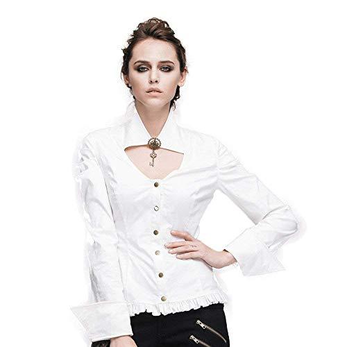 Haut Vintage Manche Blanc Fit Uni Longues Femme Tops Gothique breal Shirt Manches Slim Printemps Chemise Punk Blouse Dame Automne Uz0BqfH