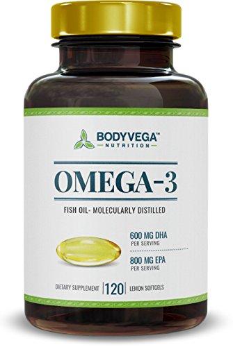 Huile de poisson de l'oméga 3 Pills (120 Capsules Count) force Triple supplément, gélules Burpless, EPA haute (800mg) haute ADH (600mg) (saveur de citron)