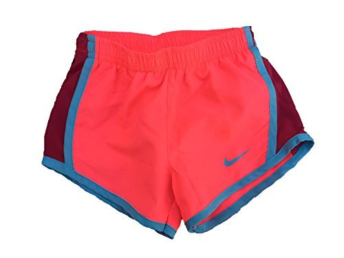 NIKE Girl`s Dry Tempo Shorts (Hot Punch (267358-A5C)/Water Blue/Hot Punch, 3T)