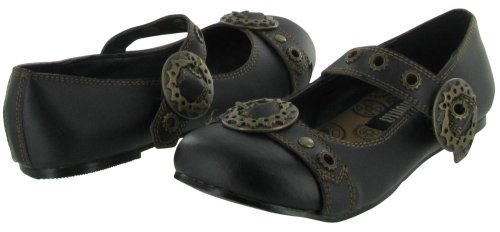 Women's by Pu Black 09 Demonia Pleaser Jane Mary Daisy Flat 47gx1nBqwE