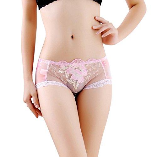 Kim88 Lingerie Pants Boyshort Flower Printed Lace Panties Thongs G-String Underwear (Pink) (Underwear Womens Boyshort Printed)