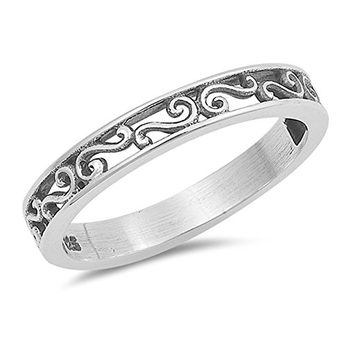 Vintage Filigree Swirl Stackable Wedding Ring 925 Sterling Silver Band Size (Silver Filigree Swirl Ring)