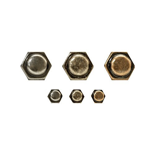 Tim Holtz Idea-ology Hex Fasteners 30/Pack, 1/4 Inch and 1/2 Inch Designs, Antiqued Nickel, Brass and Copper (TH93268) by Tim Holtz Idea-ology (Image #1)