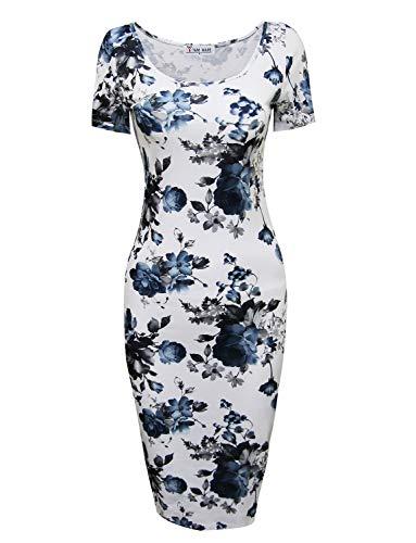 TAM WARE Women's Sweetheart Short Sleeve Midi Dress TWCWD053-WHITEBLUE-US XXL