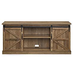 Farmhouse Living Room Furniture BELLEZE Modern Farmhouse Style 58 Inch TV Stand with Sliding Console Table Storage for TVs Up to 65″, Rustic Oak farmhouse tv stands