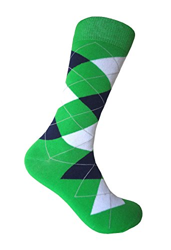 Men's Groomsmen Wedding|Party Events|Gala Collection Green/Navy/White Argyle Dress socks -