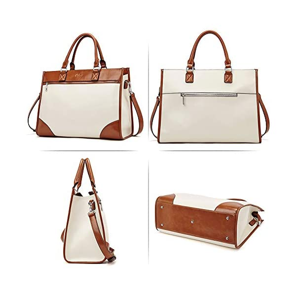 CLUCI Womens Briefcase Oil Wax Leather 15.6 Inch Laptop Business Vintage Ladies Large Capacity Shoulder Bag Beige with Brown 6