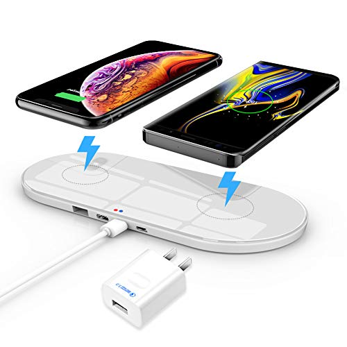 Wireless Charging Pad, ZealSound 10W/7.5W/5W 3 Mode Triple Charger with USB Output for 3 Multiple Devices with Quick USB 3.0 Adapter, Fast Charging Station for All Qi Enabled Phones (White)