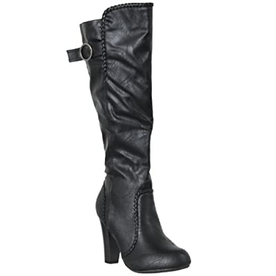 Bamboo Womens Chrissy Braid-trim High Heel Fashion Boots
