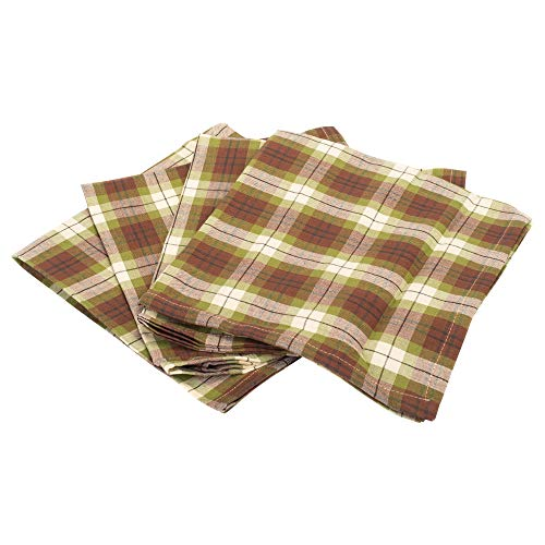 The Country House Collection Woodland Green and Red Plaid 18 x 18 All Cotton Fabric Napkin Pack of 4