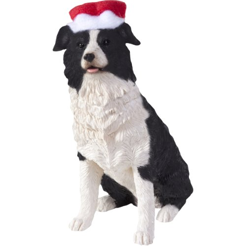 Sandicast Border Collie with Santa Hat Christmas Ornament by Sandicast